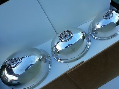 Fab Rare Original Set English Antique Victorian Mappin Webb Food Dome Covers (3)