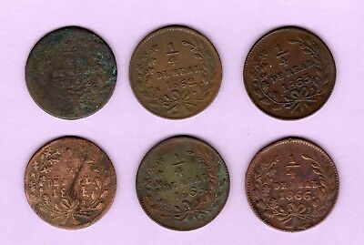 Sinaloa state coppers 1/4 reales, 1859 1862 1863 1864 1865 & 1866, Mexico coins