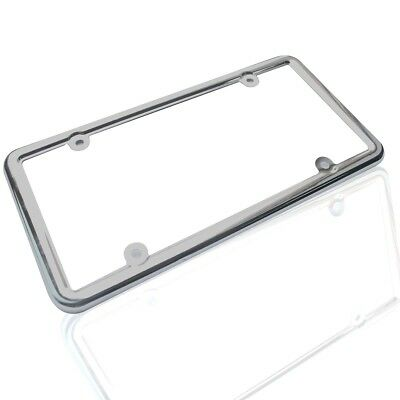 2PCS Stainless Steel Metal Cover Plate Frame Tag CF-2 License Chrome Screw Caps