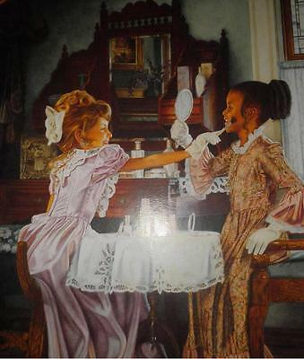 Collectible Art Print Poster~ Victorian Girls Playing W/ Vintage Mary Kay Makeup
