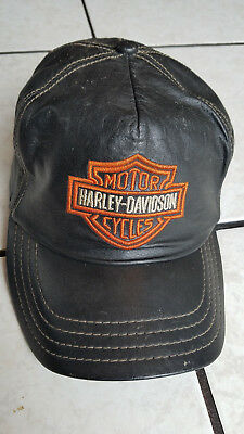 Vintage Harley Leather Baseball Ball Cap Hat 80's Bar Shield embroidered