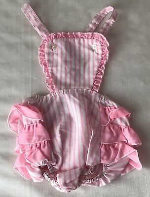 Vintage Stones Wear Baby Girl Pink Striped Sunsuit Romper Ruffled Bottom Size 2
