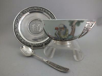 20thC CHINESE PORCELAIN BOWL WITH FIGURAL DECOR AND SILVER STAND, SPOON & MOUNT
