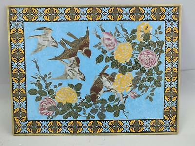 A Fine Large Chinese Cloisonne Tray/panel With Birds And Flowers 19Th Century
