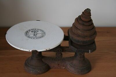 Rare Antique Victorian Parnall & Sons Bristol Kitchen / Shop Scales Inc Weights