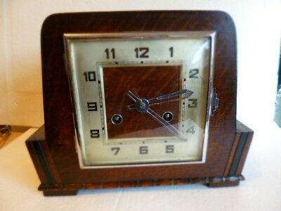Antique Art Deco Wooden  Mantle Clock