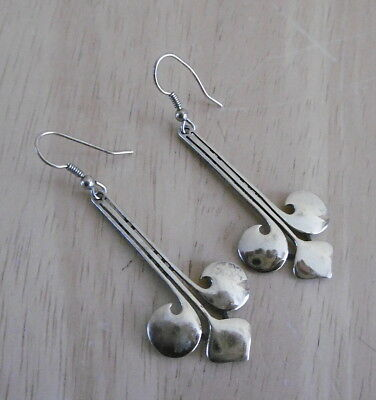 Vintage Scottish Gilt On Sterling Silver Drop Earrings By BMSP (FREE UK P&P)