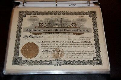 The Wolverine Lubricating & Chemical Company STOCK CERTIFICATE Rare 1918