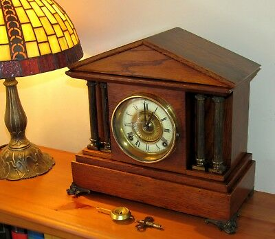 Delightful Ansonia American Striking Wooden Mantle Clock. With Pendulum & Key