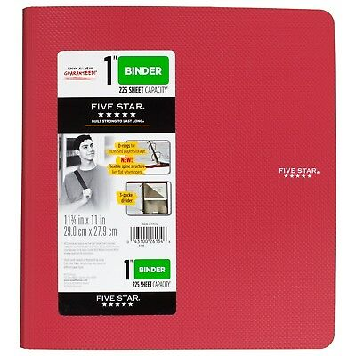 Five Star 1 Inch 3 Ring Binder, Plastic, Red (38896) New