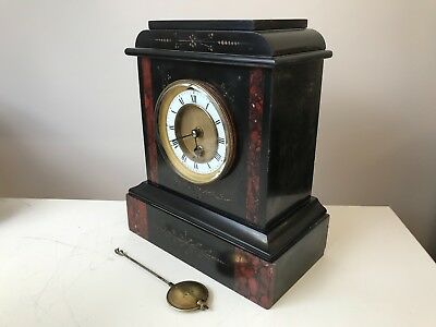 French Victorian slate/marble mantle clock Working with key & pendulum