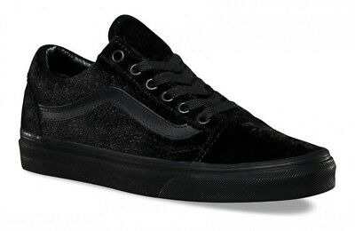 b38555440496 Vans - VELVET Old Skool Shoes (NEW) Black WAFFLE SOLE Free Ship WOMENS SIZE