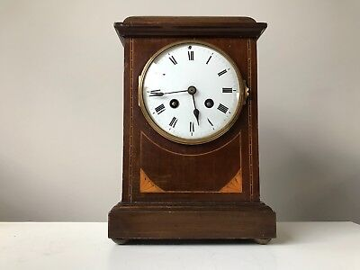 Edwardian mahogany striking mantle clock Working with pendulum made in England