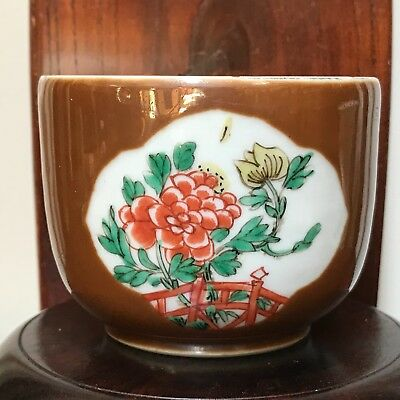 "Rare-Chinese Antique Brown Glazed Porcelain Jar Famille Rose Hand Paint 2.5"" H"