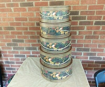 """5 Vintage  Raymond Waites Collection"""" Once Upon A Rose New York"""" Hat Boxes."""