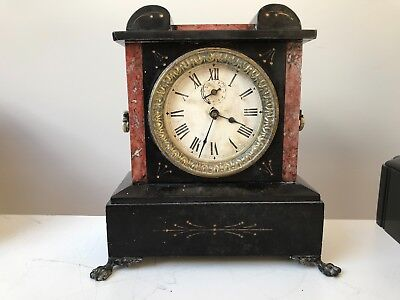 Unusual French slate/marble mantle alarm clock (almost works) for parts