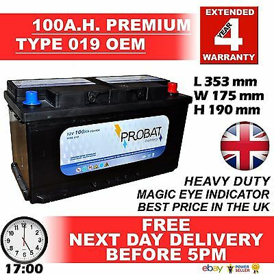 OEM Replacement Heavy Duty Car/Van Battery TYPE 017 / 019 12V 100AH 4 Yrs Warnty
