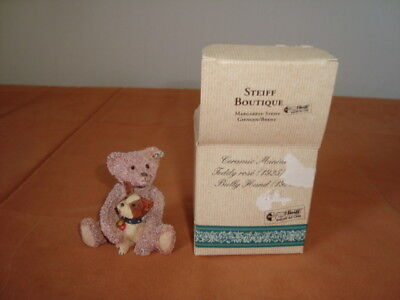Steiff Boutique Ceramic Miniatur Teddy rose`(1925) Bully Hund (1927)