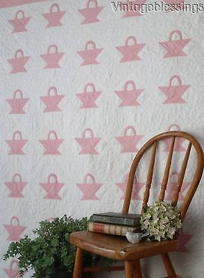 """Sweet Cottage Home! Vintage 20-30s Small Scale Pink Baskets QUILT 69x67"""""""