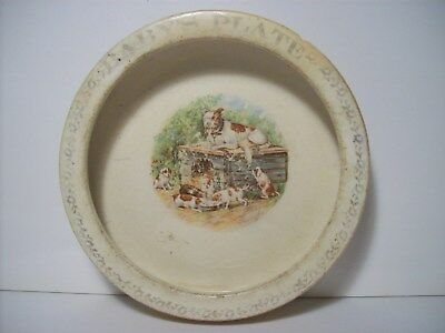 Antique Baby Plate - Dogs/Puppies/Dog House