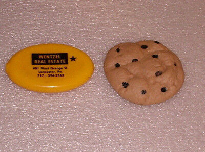 2 Vintage Squeeze Coin Purses Chocolate Chip Cookie & Smiley Face Advertising