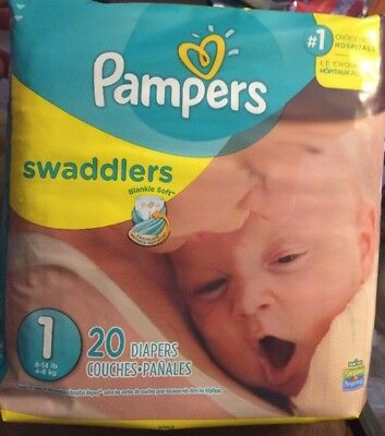 Package Of Pampers Swaddlers Size 1 Diapers Baby Under 8-14 In's 20 Count