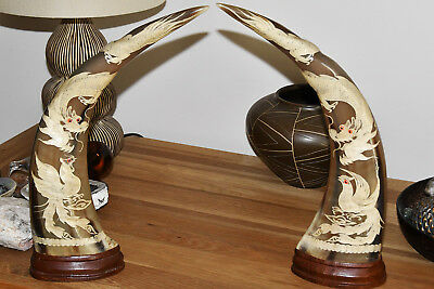 Scrimshaw Carved Bovine Horns In Chinese Style With Dragons/birds