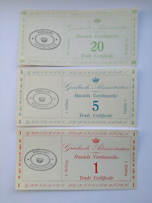 Greenland 1942 Military trade Certificate set. 1, 5, 20 Skilling. UNC