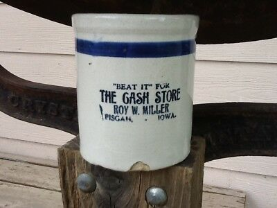 Old Red Wing ? Blue Band Stoneware Beater Jar The Cash Store Pisgah Iowa