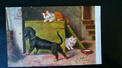 Carte postale vintage illustrateur teckels