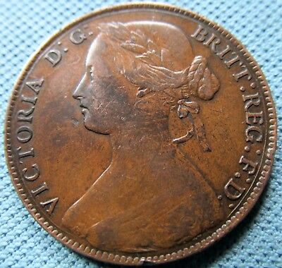 1861 Great Britain Queen Victoria Bronze One Penny Signature & Initials Variety