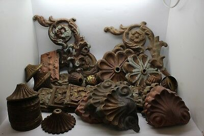Lot of Antique Small Pressed Painted Tin Lighting Hardware Ceiling Pieces & More