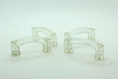 Vintage Antique Set Lot of 4 Clear Glass Double Drawer Pulls No Damage