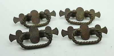 Lot of 4 Vintage Antique Matching Copper Brass Drawer Pulls Southwestern Mission