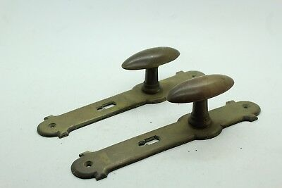 Pair of Vintage Antique Solid Brass French Door Knob Pulls Handles Unmarked