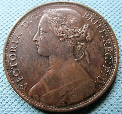 1861 Great Britain Queen Victoria Bronze One Penny No Signature Variety