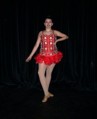 Bejeweled 2 pc.Dance Costume Adult Lg Red