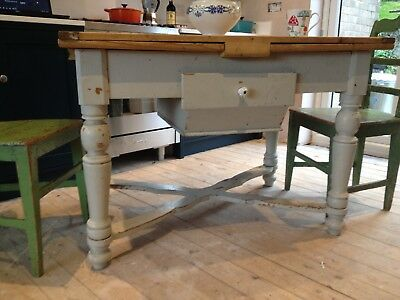 Vintage - Swedish painted antique scrub top extending preparation table
