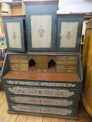 Painted Secretaire Cabinet with key 19th Century Victorian