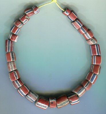 African Trade beads Vintage Antique Venetian glass old striped green hearts #2