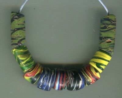 African Trade beads Vintage Venetian old glass beads nice mixed swirl beads