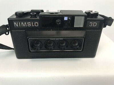 NIMSLO 3D Quadra Lens 30mm Camera with Strap - Untested / Parts - Made in Japan