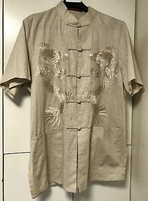 Rare Traditional Men's Kung Fu Style Shirt Embroidered Dragon