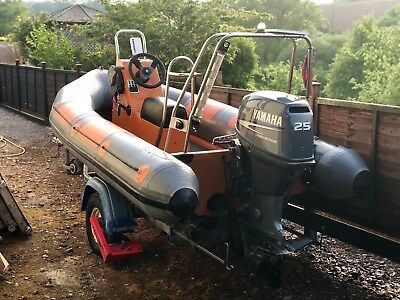 Ribcraft RIB 3.5m boat with Yamaha 25hp 4 stroke Outboard and Roller Trailer