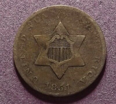 1851 US Three-Cent Silver Coin - 3-Cent Silver - First Year of Issue