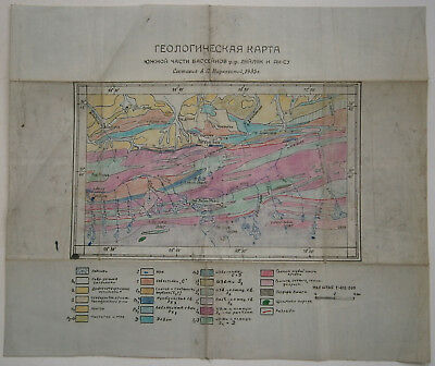 Kyrgyzstan 1935 Map GEOLOGICAL MAP Turkestan Range USSR Soviet Russian Handmade