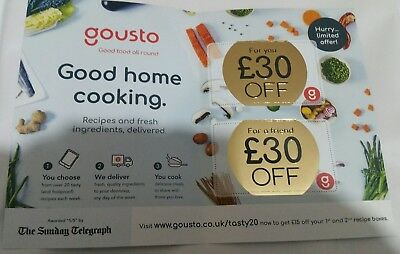 Gousto £30 Discount Voucher (2 x £15 off 1st 2 orders)