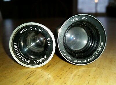 Lot Of Two 8mm Projector Lenses - See Details - Free USA Shipping