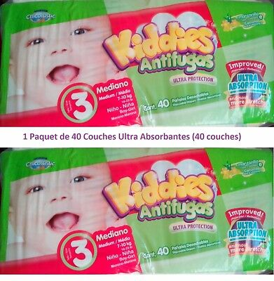 1 Paquet de 40 COUCHES KIDDIES, CHICOLASTIC, Ultra Protection (7-10 kg) - NEUF