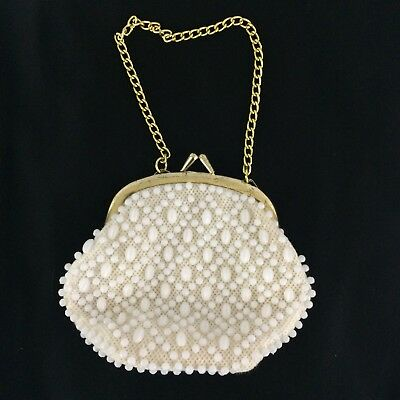 Vintage Tiki Seashell Coin Purse Distressed Gold Chain Kiss Lock Beach